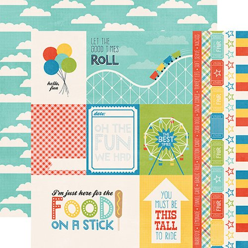 Echo Park - A Fair To Remember Collection - 12 x 12 Double Sided Paper - Cards and Borders