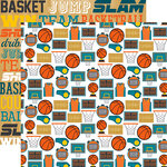 Echo Park - Basketball Collection - 12 x 12 Double Sided Paper - Basketball Icons