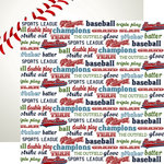 Echo Park - Baseball Collection - 12 x 12 Double Sided Paper - Baseball Words