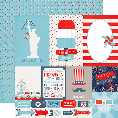 Echo Park - Sweet Liberty Collection - 12 x 12 Double Sided Paper - Journaling Cards