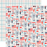 Echo Park - Sweet Liberty Collection - 12 x 12 Double Sided Paper - Lady Liberty