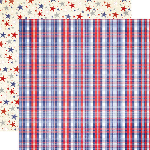 Echo Park - 4th of July Collection - 12 x 12 Double Sided Paper - Plaid