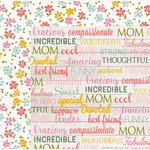Echo Park - Beautiful Mom Collection - 12 x 12 Double Sided Paper - Mom Words