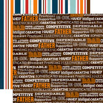 Echo Park - Team Dad Collection - 12 x 12 Double Sided Paper - Team Dad Words