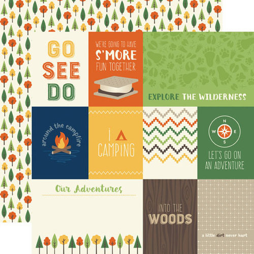 Echo Park - Summer Camp Collection - 12 x 12 Double Sided Paper - Journaling Cards