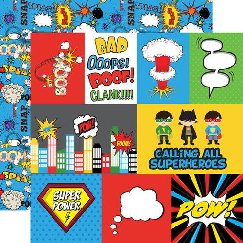 Echo Park - Superhero Collection - 12 x 12 Double Sided Paper - Journaling Cards