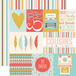 Echo Park - Girl Cousin Collection - 12 x 12 Double Sided Paper - Journaling Cards