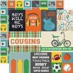 Echo Park - Boy Cousin Collection - 12 x 12 Double Sided Paper - Journaling Cards