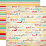 Echo Park - Granddaughter Collection - 12 x 12 Double Sided Paper - Granddaughter Words
