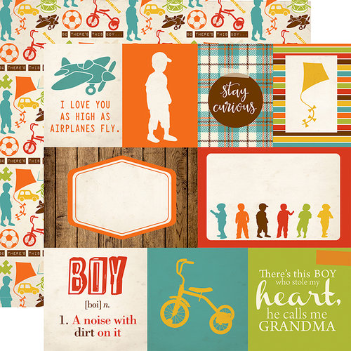 Echo Park - Grandson Collection - 12 x 12 Double Sided Paper - Journaling Cards