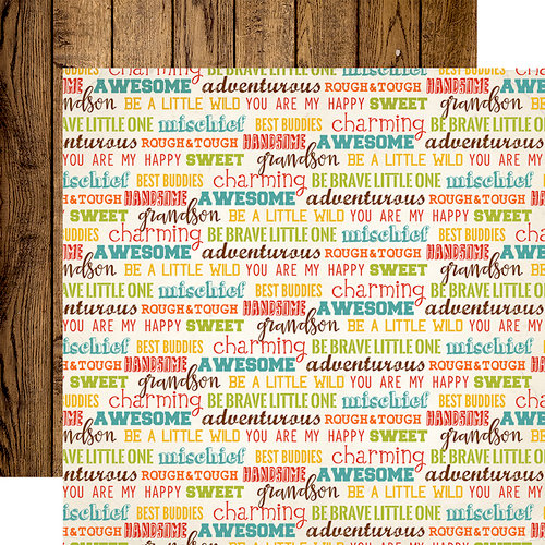 Echo Park - Grandson Collection - 12 x 12 Double Sided Paper - Grandson Words