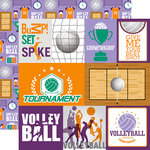 Echo Park - Volleyball Collection - 12 x 12 Double Sided Paper - Journaling Cards