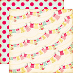 Echo Park - Sweet Girl Collection - 12 x 12 Double Sided Paper - Laundry Line