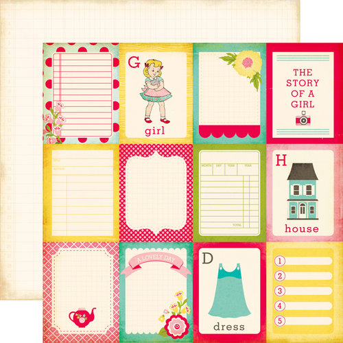 Echo Park - Sweet Girl Collection - 12 x 12 Double Sided Paper - 3 x 4 Journaling Cards