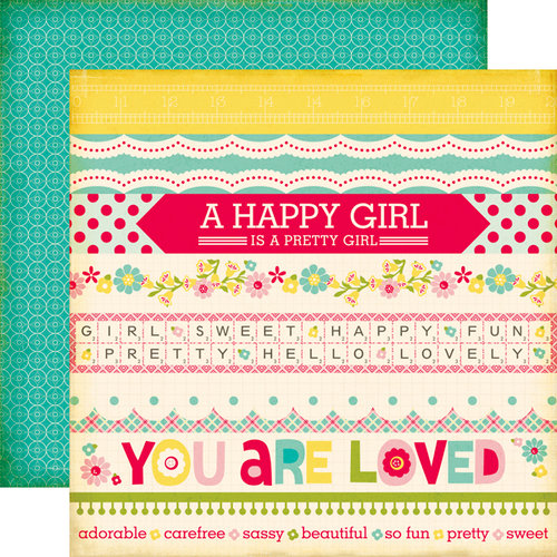 Echo Park - Sweet Girl Collection - 12 x 12 Double Sided Paper - Border Strips