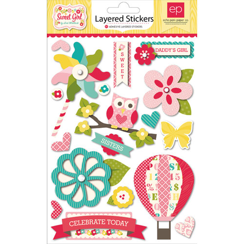 Echo Park - Sweet Girl Collection - Layered Cardstock Stickers with Jewel Accents