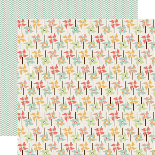 Echo Park - Sweet Day Collection - 12 x 12 Double Sided Paper - Peppy Pinwheel
