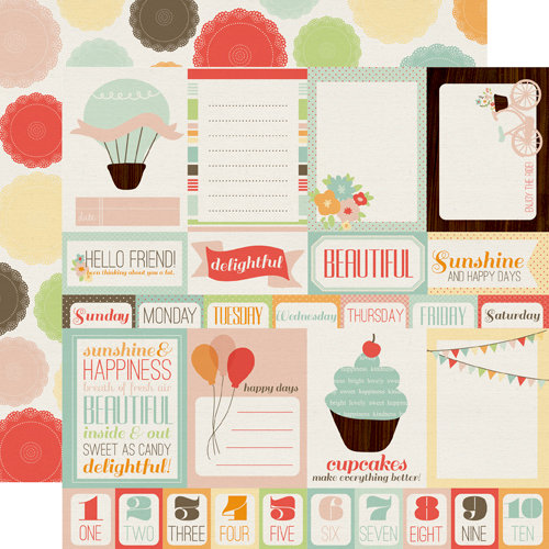 Echo Park - Sweet Day Collection - 12 x 12 Double Sided Paper - Journaling Cards