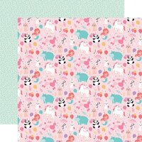 Echo Park - It's Your Birthday Girl Collection - 12 x 12 Double Sided Paper - Girl Party Animals