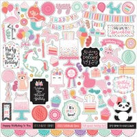 Echo Park - It's Your Birthday Girl Collection - 12 x 12 Cardstock Stickers - Elements