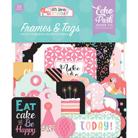 Echo Park - It's Your Birthday Girl Collection - Ephemera - Frames and Tags