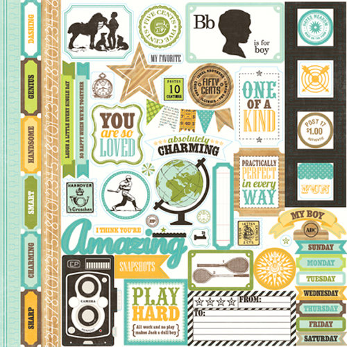 Echo Park - This and That Collection - Charming - 12 x 12 Cardstock Stickers - Elements
