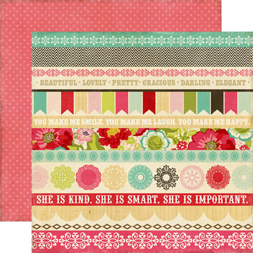Echo Park - This and That Collection - Graceful - 12 x 12 Double Sided Paper - Border Strips