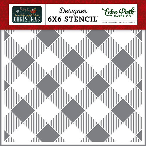 Echo Park - Twas the Night Before Christmas Collection - 6 x 6 Stencil - Diagonal Buffalo Plaid