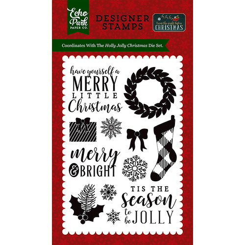 Echo Park - Twas the Night Before Christmas Collection - Clear Acrylic Stamps - Holly Jolly Christmas