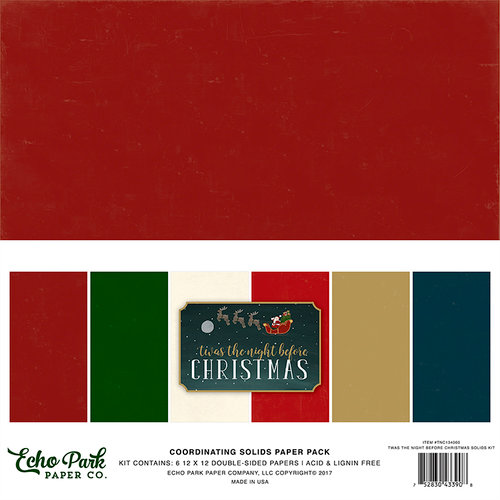 Echo Park - Twas the Night Before Christmas Collection - 12 x 12 Paper Pack - Solids