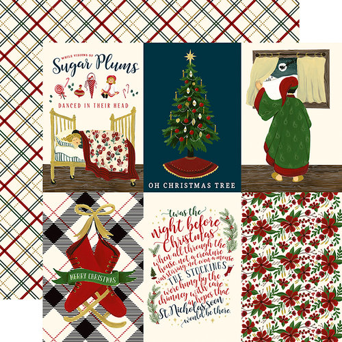 Echo Park - Twas the Night Before Christmas Collection - 12 x 12 Double Sided Paper - Vertical 4 x 6 Journaling Cards