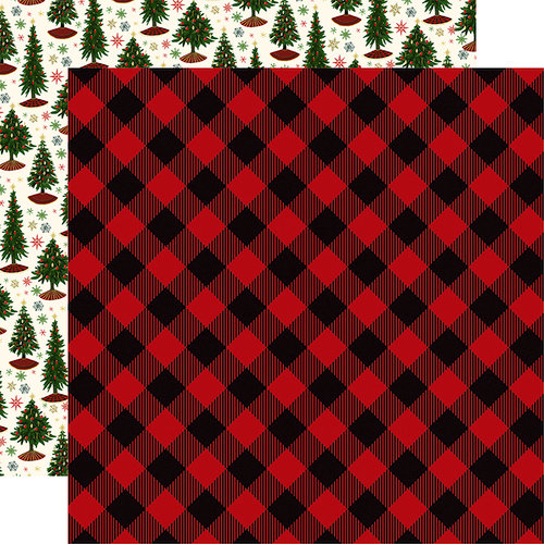 Echo Park - Twas the Night Before Christmas Collection - 12 x 12 Double Sided Paper - Red Buffalo Plaid