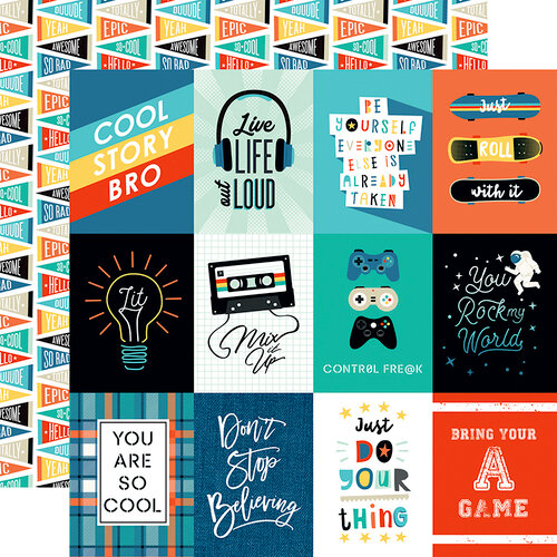 Echo Park - Teen Spirit Boy Collection - 12 x 12 Double Sided Paper - 3 x 4 Journaling Cards