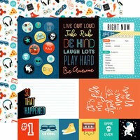 Echo Park - Teen Spirit Boy Collection - 12 x 12 Double Sided Paper - Journaling Cards