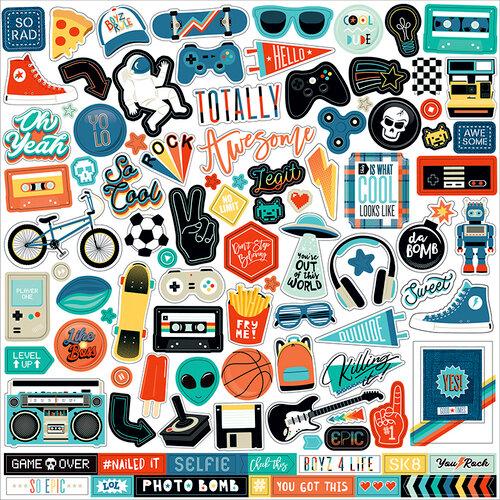 Echo Park - Teen Spirit Boy Collection - 12 x 12 Cardstock Stickers - Elements