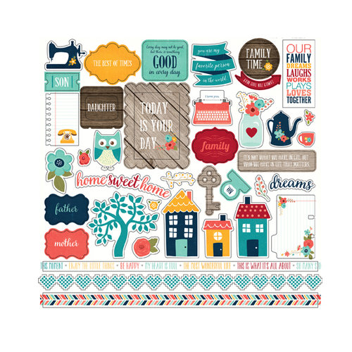 Echo Park - The Story of Our Family Collection - 12 x 12 Cardstock Stickers - Elements