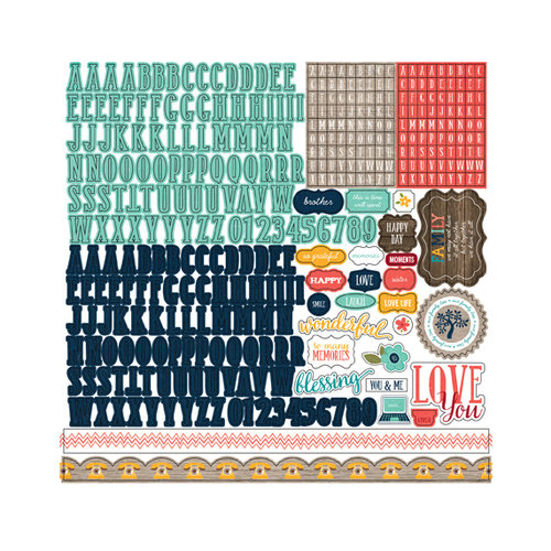 Echo Park - The Story of Our Family Collection - 12 x 12 Cardstock Stickers - Alphabet