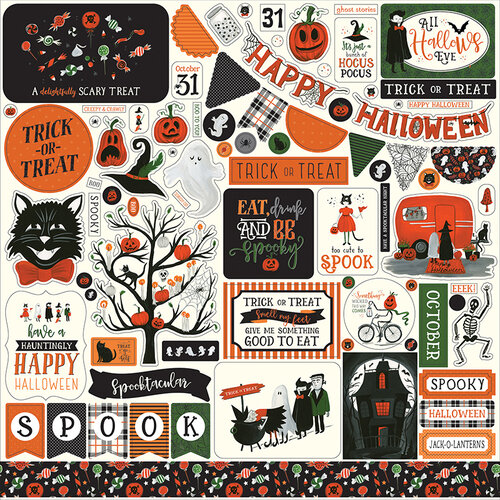 Echo Park - Trick or Treat Collection - Halloween - 12 x 12 Cardstock Stickers - Elements