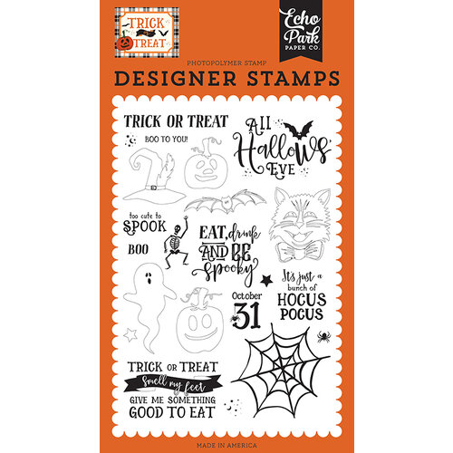 Echo Park - Trick or Treat Collection - Halloween - Clear Photopolymer Stamps - All Hallows Eve