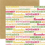 Echo Park - Through The Year Collection - 12 x 12 Double Sided Paper - November