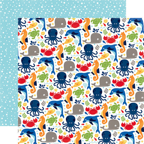 Echo Park - Under the Sea Collection - 12 x 12 Double Sided Paper - Ocean Friends