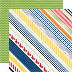 Echo Park - Under the Sea Collection - 12 x 12 Double Sided Paper - Crabby Stripe