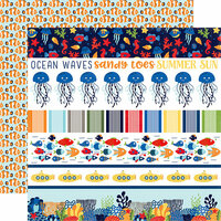 Echo Park - Under the Sea Collection - 12 x 12 Double Sided Paper - Border Strips