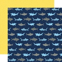 Echo Park - Under Sea Adventures Collection - 12 x 12 Double Sided Paper - Sneaky Sharks