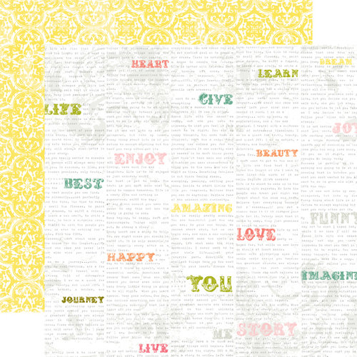 Echo Park - Victoria Garden Collection - 12 x 12 Double Sided Paper - Cheerful Words
