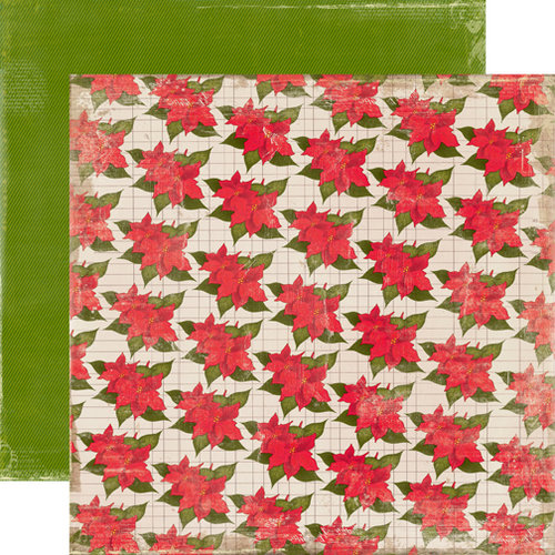 Echo Park - A Very Merry Christmas Collection - 12 x 12 Double Sided Paper - Poinsettia