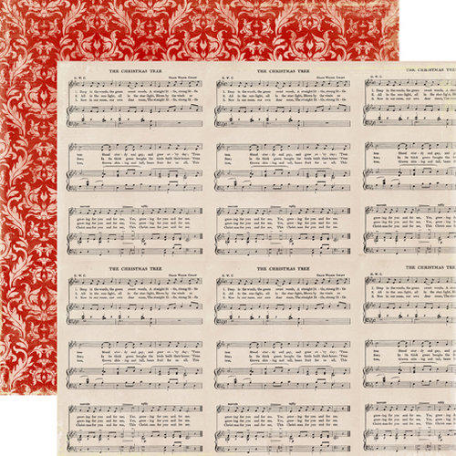 Echo Park - A Very Merry Christmas Collection - 12 x 12 Double Sided Paper - Music Notes