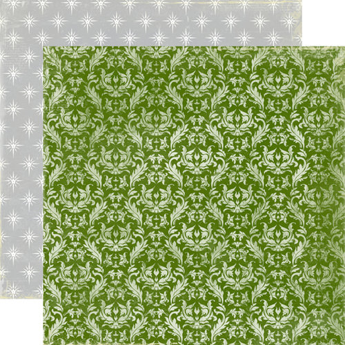 Echo Park - A Very Merry Christmas Collection - 12 x 12 Double Sided Paper - Green Damask