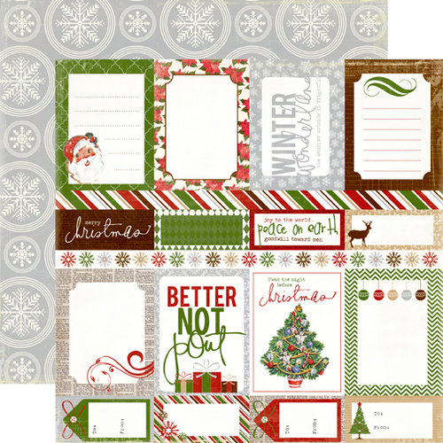 Echo Park - A Very Merry Christmas Collection - 12 x 12 Double Sided Paper - Journaling Cards
