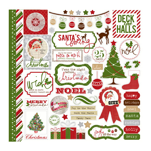 Echo Park - A Very Merry Christmas Collection - 12 x 12 Cardstock Stickers - Elements